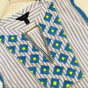 J. Crew Tops - J. Crew Cap-Sleeve Top Embroidered Sunburst Stripe